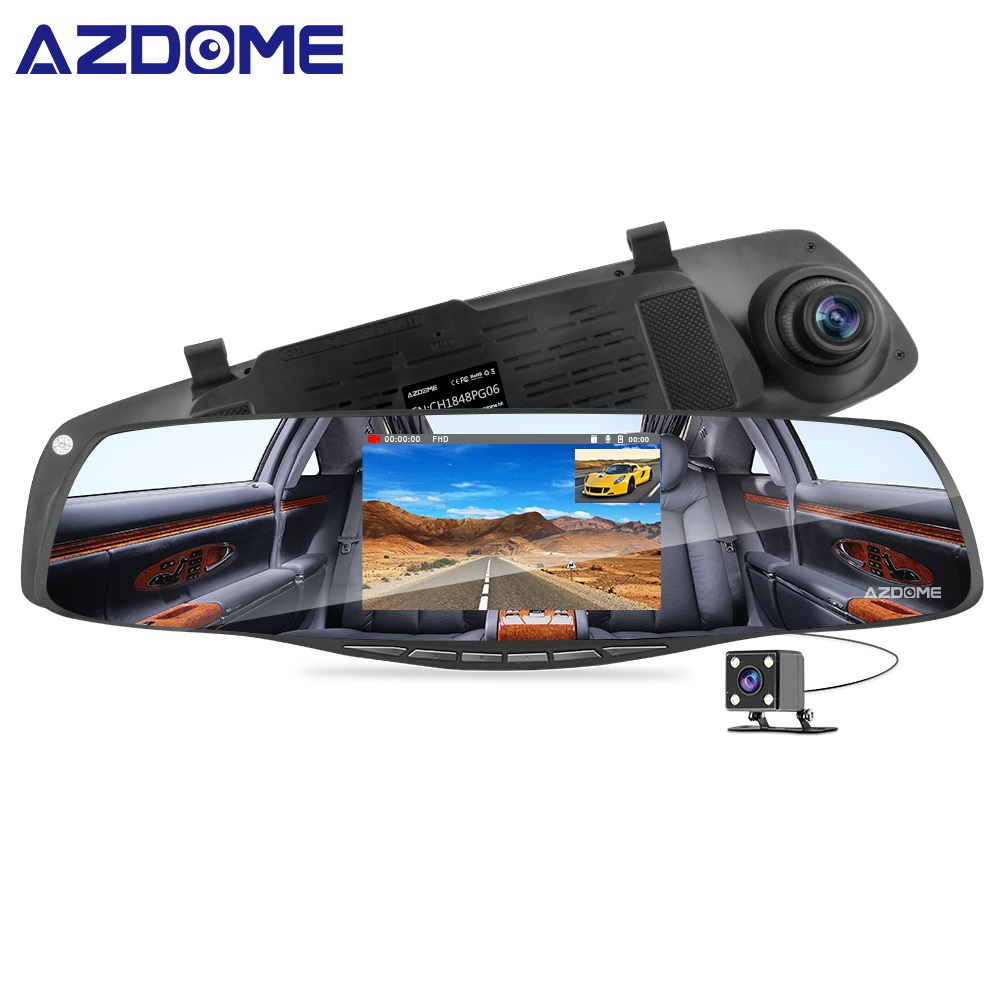 AZDOME PG06 4 3 Mirror Dash Cam Dual Lens 1080P Front VGA Backup Car DVR Dashcam