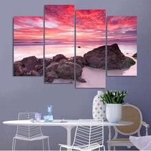 4 Piece Sunrise Seascape Landscape Home Decor Canvas Picture Art HD Print Wall Oil Painting Set of Each Arts Unframe