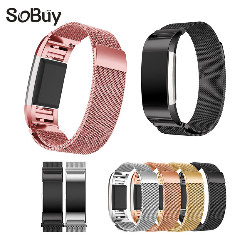 IDG Magnetic Milanese Loop Wrist strap  Bracelet Stainless Steel Band Adjustable large Small for Fitbit Charge 2 Sports adjustable wrist and forearm splint external fixed support wrist brace fixing orthosisfit for men and women