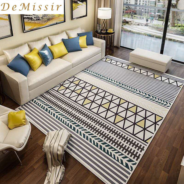 Large Europe Simple Geometric Pattern Rectangle Carpet Parlor Living Room  Mats Bedroom Chair Rugs Home Hotel