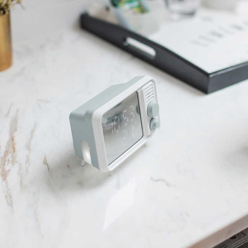 Ретро форма TV аварийная лампа-часы зеркало мульти-функциональное зеркало часы термометр кровать мульти-Функция часы-серый синий