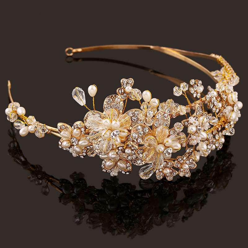 Western Wedding Hair Accessories Jewelry Handmade Gold Crystal Pearl Vine Flower Crown And Tiara Baroque Bride Bridal Headband