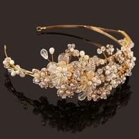 Western Wedding Hair Accessories Jewelry Handmade Gold Crystal Pearl Vine Flower Crown And Tiara Baroque Bride