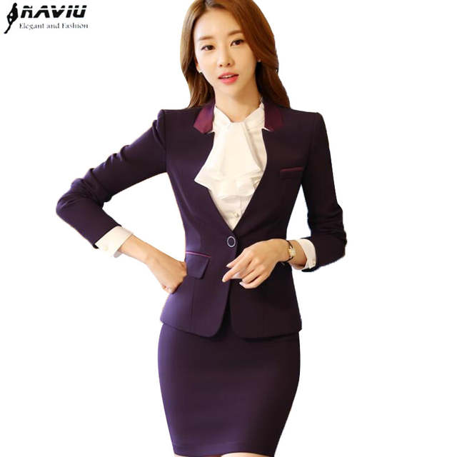 065970bfd91 OL work wear female set fashion long sleeve beautiful blazer with skirt  plus size office ladies. placeholder ...