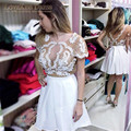 2017 Sexy Cocktail Dress Sparkly Beading Lace Appliques Bodice with V Back White Short Skirt Girls Cocktail Party Dress
