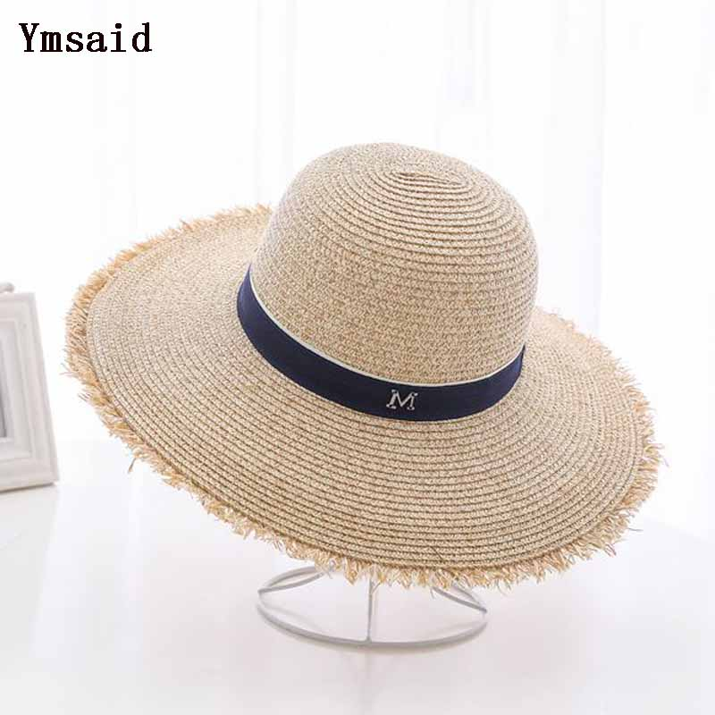 f69560680ae Ymdaid 2018 Hot Sale Summer Sun Hats For Women M Letter Wide Brim Ladies Straw  Hat Beach Vacation Girls Panama Hat