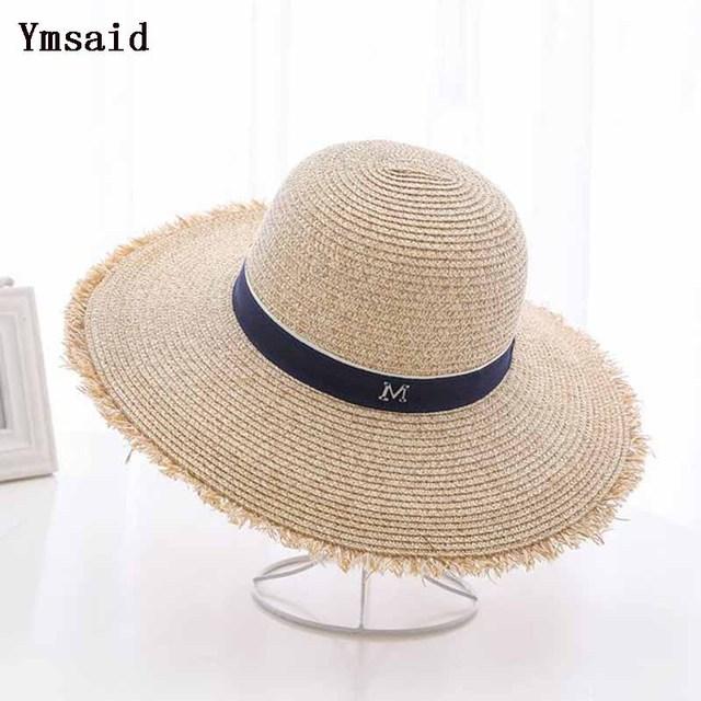 09d43216 Ymdaid 2018 Hot Sale Summer Sun Hats For Women M Letter Wide Brim Ladies  Straw Hat Beach Vacation Girls Panama Hat