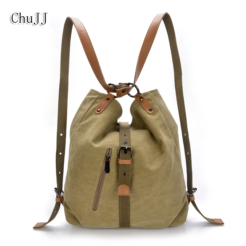 Chu JJ Vintage Multifunctional Women's Backpacks Girls Students School Bag Canvas Shoulder Bags Women Casual Travel Bag chu jj new arrival genuine leather women backpacks fashion backpacks for girls casual travel women school bag
