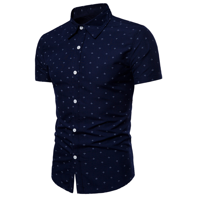 New Men's Brand Summer Breathable Short-sleeved European Yard Anchor Printing Fashion Casual Slim Beach Short-sleeved Shirt 3XL