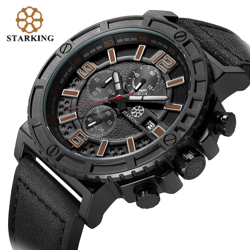 STARKING Genuine Leather Men Sport Watch Army Chronograph Data - Męskie zegarki - Zdjęcie 3