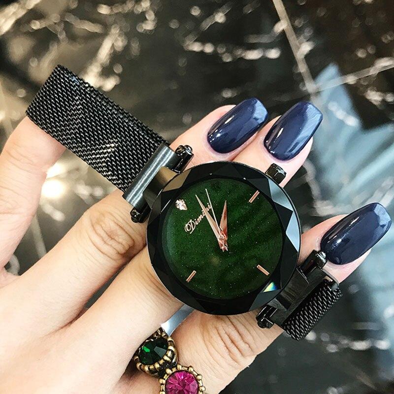 все цены на Woman Watches Luxury Brand Lady Crystal Women Ladies Wrist Watches Starry sky Fashion Quartz Magnet Strap Watches Zegarek Damski онлайн
