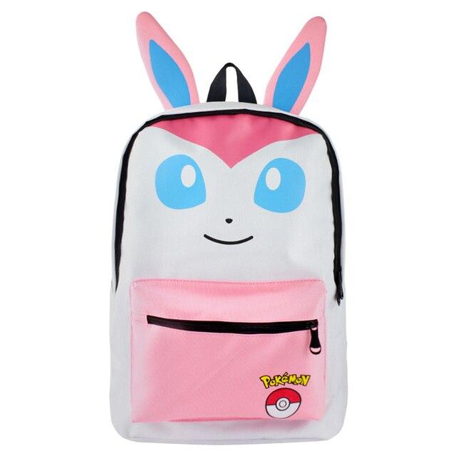 Pokemon Sylveon Vaporeon Backpacks Canvas Cartoon Printing Backpacks