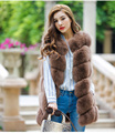 70CM New 2016 Fashion Winter Women Fur Vest Real Fox Fur Vests Woman Fox Fur Coat Jacket Female Ladies Fur Coats Size M-2XL
