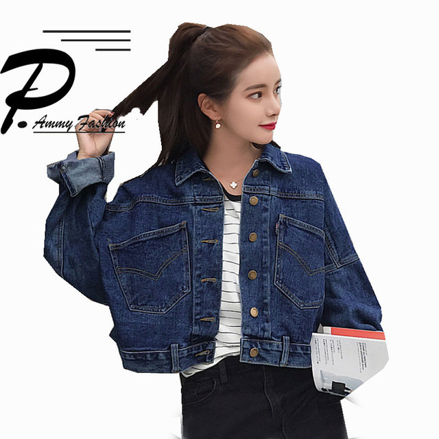 2018 Fashion Bawing Sleeve BF Denim Back Buttons Short Jacket Jeans Spring Lagenlook Womens Loose Coats Jean Plus Size Outerwear