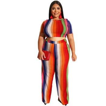 Mirsicas Loose Wide Leg Pants Crop Top 2 Piece Set For Female O-neck Short Sleeve Two Piece Set Women's Suits