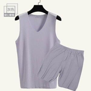 Image 2 - 남자의 원활한 v 목 조끼와 반바지 2 조각 남자 캐주얼 홈 nightwear 남자 9636