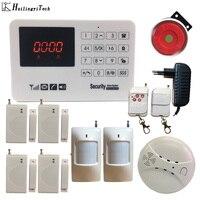 433 mhz gsm sistema de segurança alarme em casa detector de porta detector infravermelho teclado toque com detector de fumaça gsm casa alarme do assaltante