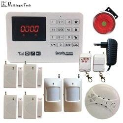433MHz GSM domowy system alarmowy czujnik drzwi czujnik podczerwieni klawiatura dotykowa z detektor dymu w domu Gsm alarm antywłamaniowy