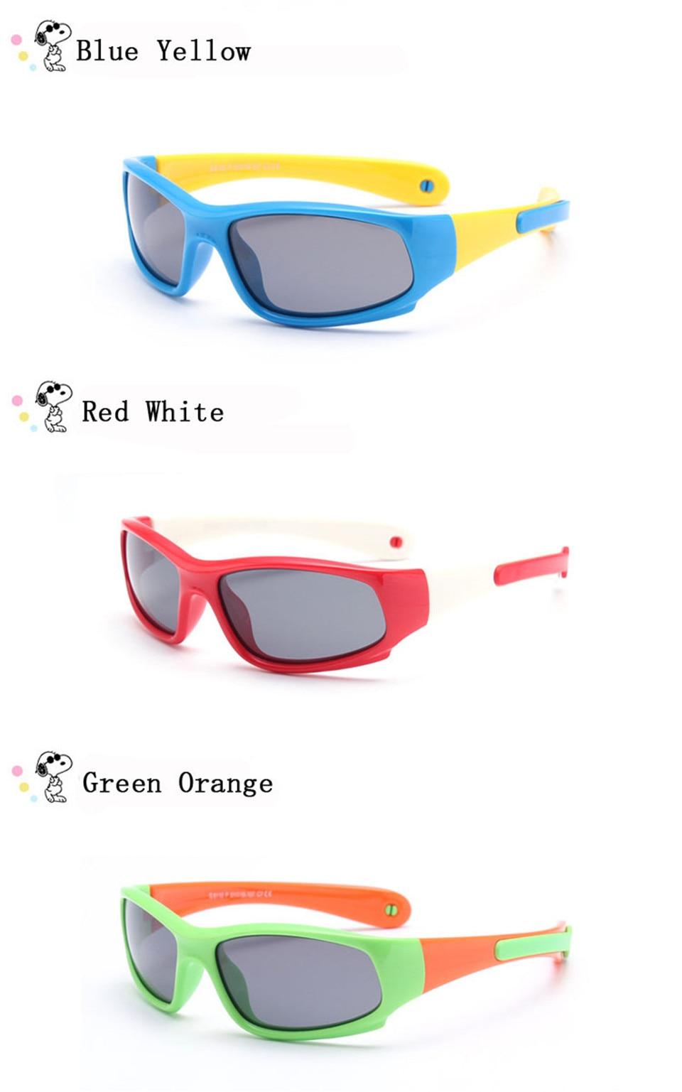 No easily broken Kids TR90 Polarized Sunglasses Children Safety Brand Glasses Flexible Rubber Oculos Infantil (5)