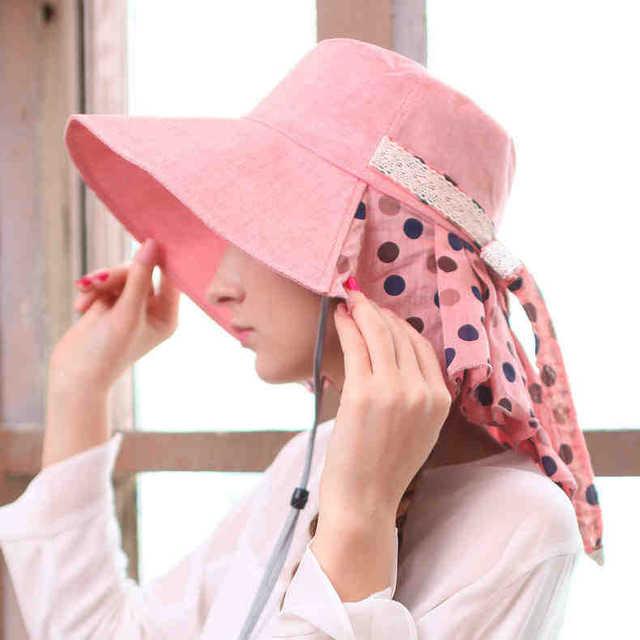 Лето женщины складной широкий краев пляж велосипед солнца шляпа с галстук-бабочка хлопок флоппи-бей элегантный богема шляпа