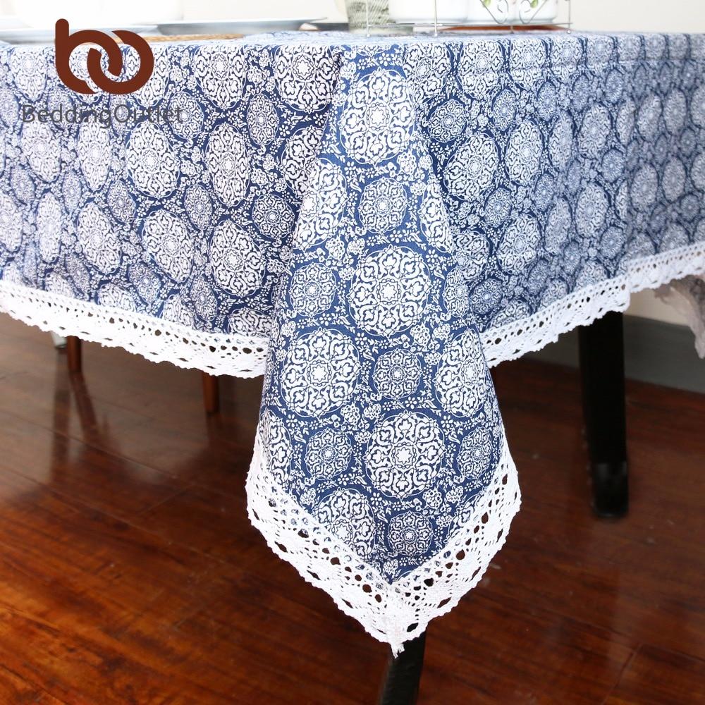 Beddingoutlet Blue Flower Tablecloth Cotton And Linen