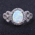 ZHE FAN White Oval Fire Opal Finger Rings Women Micro Pave AAA Cubic Zirconia Party Valentines Ring Jewelry Size 6 7 8 9 10