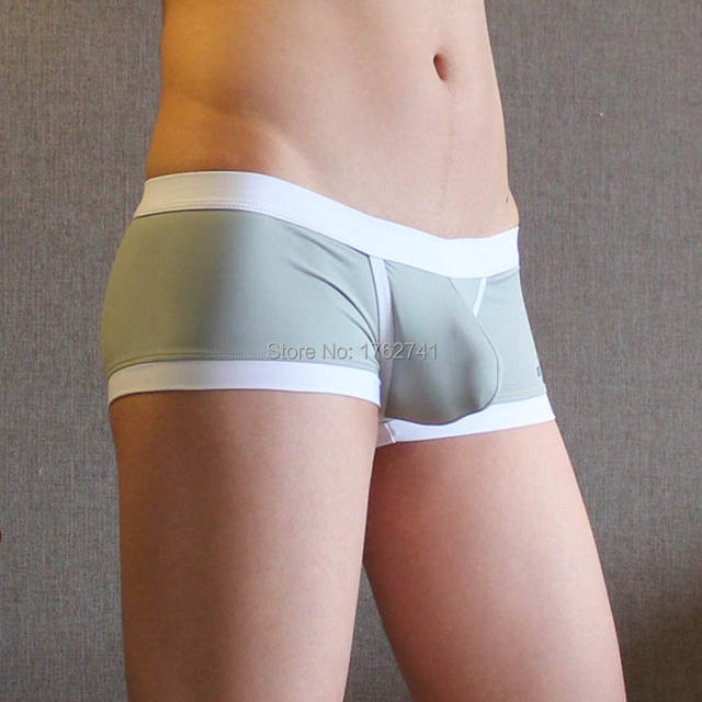 Men's Boxers Bottom Underwear Athletic Penis Hole Pouch Smooth Boxer Stretchy Boxer