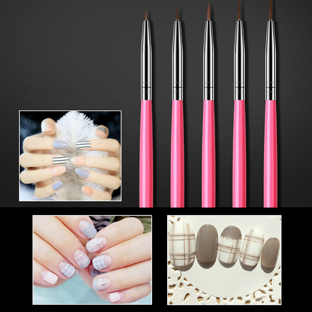 ROHWXY Professional Nail Art Brush Set Line Drawing Painting Pen UV Gel Polish For Designs Acrylic Manicure Brush For Gradient 2