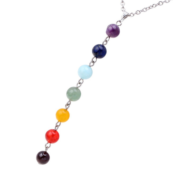 New Arrivel Reiki Healing Spiritual Beads Chakra Pendant Yoga Long Tassel Chain Necklace For Women Girl Gift Jewelry