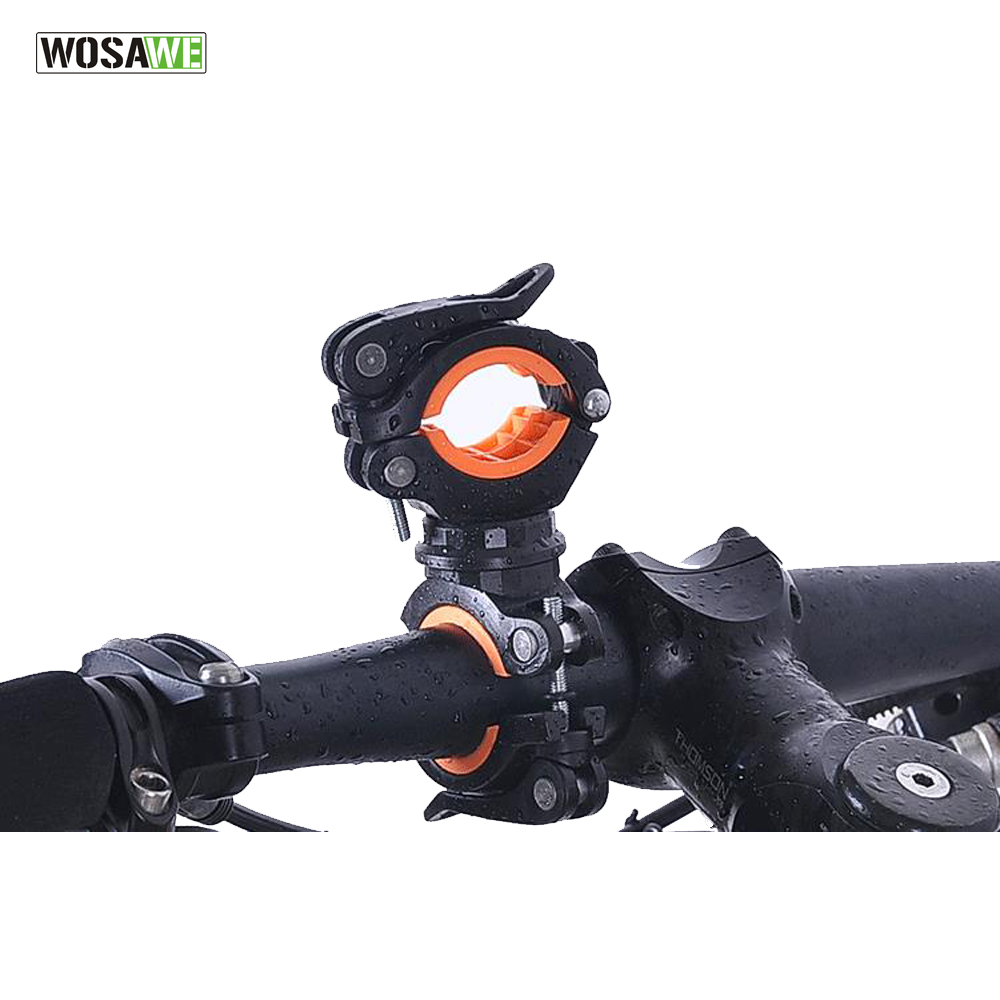 WOSAWE Cycling Bike Bicycle Flashlight Torch Mount 360 Degree Rotation LED Lamp Head Front Light Holder Clip Bicycle Accessories 360 degree swivel bicycle bike mount holder clip clamp for flashlight torch universal rubber bicycle bike mount bracket clip