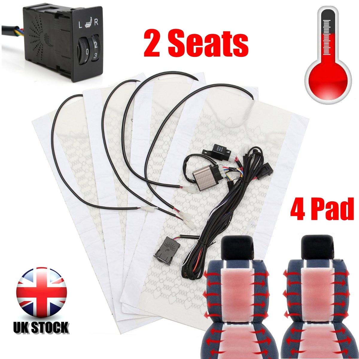 2 Asientos 4 pads carbono universal Fibra asiento calentador 12 V almohadillas 2 dial 5 nivel calentador del invierno fundas de asientos