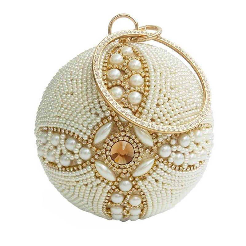 ФОТО 2017 Round Pearl Evening Bags Luxury Diamond Women Day Clutch Bags Ball Purses Globe Crystal Beaded Wedding Party handbags Li451