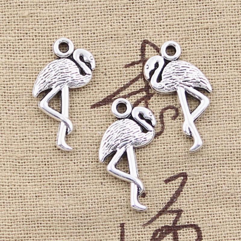 Vintage Tibetischen Silber FleißIg 8 Stücke Charme One Bein Stehend Kran Flamingo 24x10mm Antike Diy Armband Halskette GroßE Sorten Der Anhänger Fit