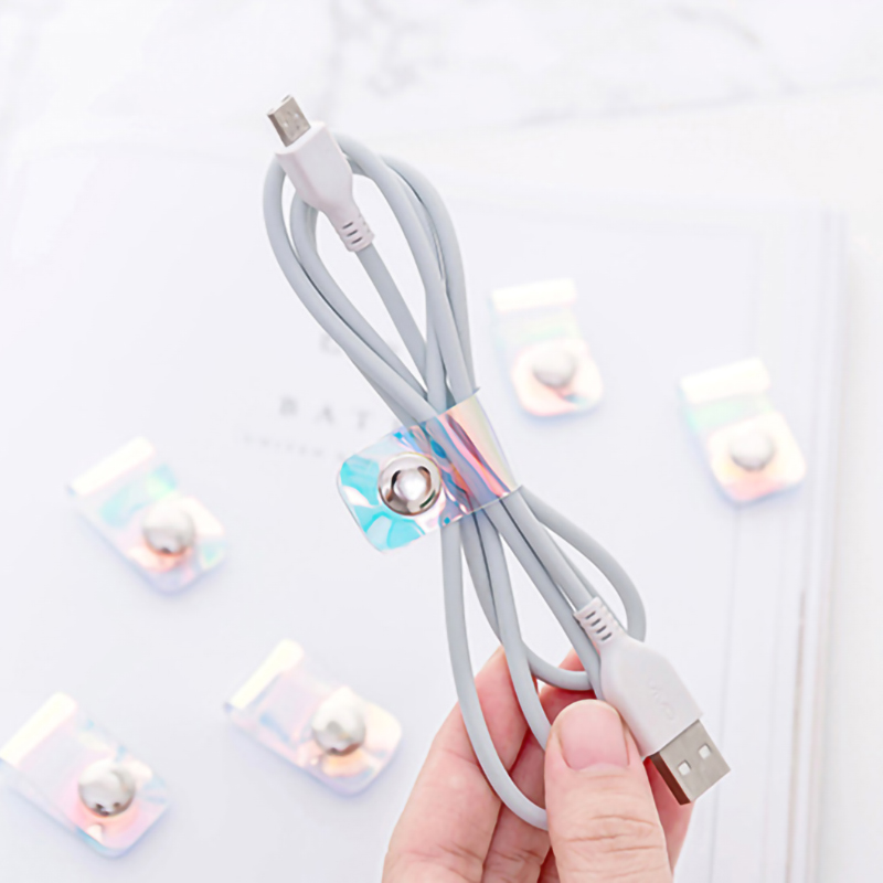 4pcs/set Laser Transparent Cable Winder Travel Accessories Earphone Protector USB Phone Holder Accessory Packe Organizers