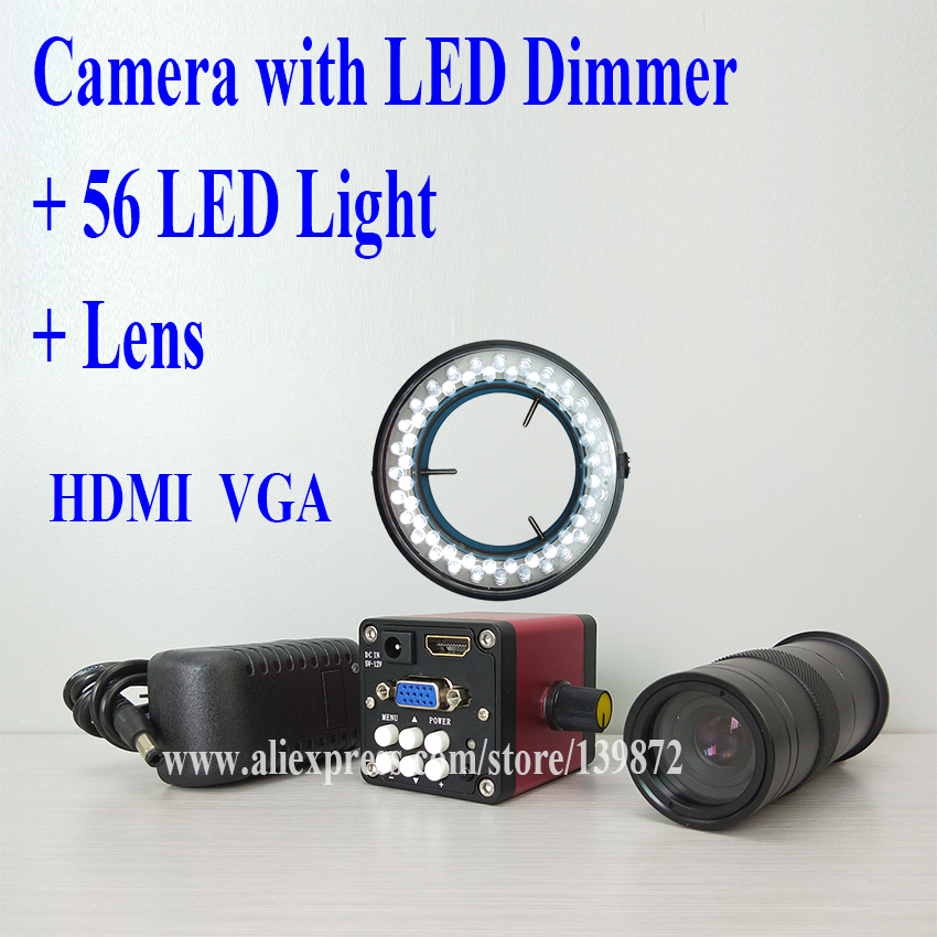 efix HDMI VGA CMOS Digital Video Camera Microscope Accessories Parts LED Dimmer + Lens +56 LED Light Soldering Tools Kits