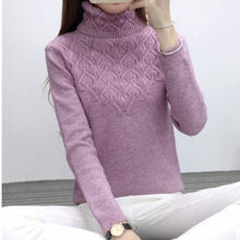 39310dd39 Outono inverno nova gola alta camisola feminino desgaste trecho de manga  longa pulôver feminino de malha