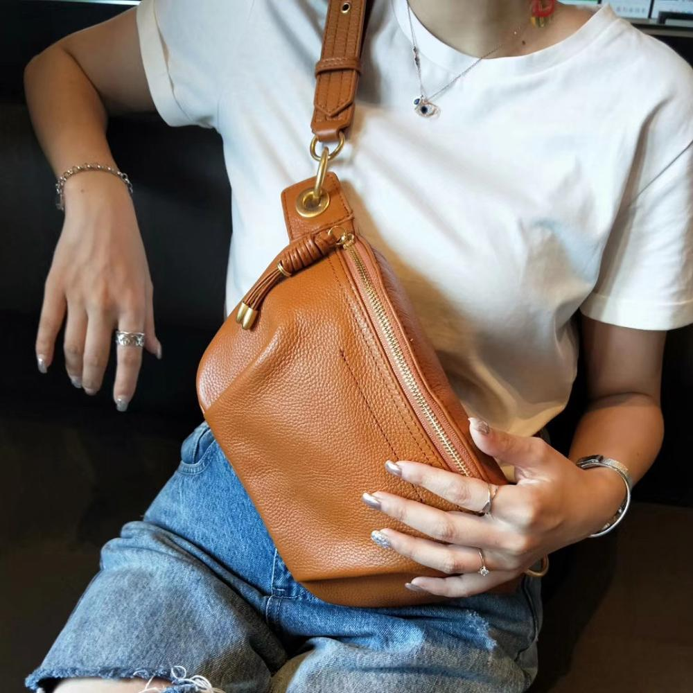 Genuine Cow Leather Fanny Pack For Women Waist Bag Waterproof Belt Bag Purse Fashion Money Belt Ladies Shoulder Bag Chain Female
