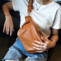 Genuine Cow Leather fanny pack for women waist bag waterproof belt bag purse fashion money belt ladies shoulder bag chain female