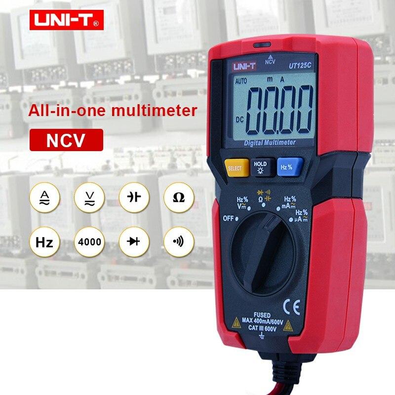 Nauwkeurig Uni-t Ut125c Handheld Digitale Multimeters Mini Multimeter Ac/dc Spanning Weerstand Capaciteit Diode Continuïteit Test 100% Hoogwaardige Materialen