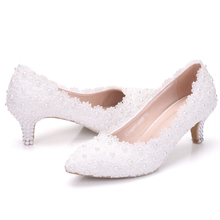 Kitten Heel Girl Dress Shoes White Pink Lace Flower Party Prom Wedding Bridal Bridesmaid Shoes