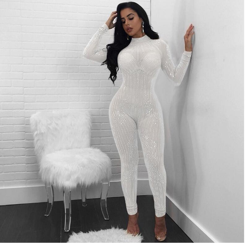 Sexy slim jumpsuit womens fashion bodysuit sequined net yarn trousers round neck rhinestones perspective nightclub women romper