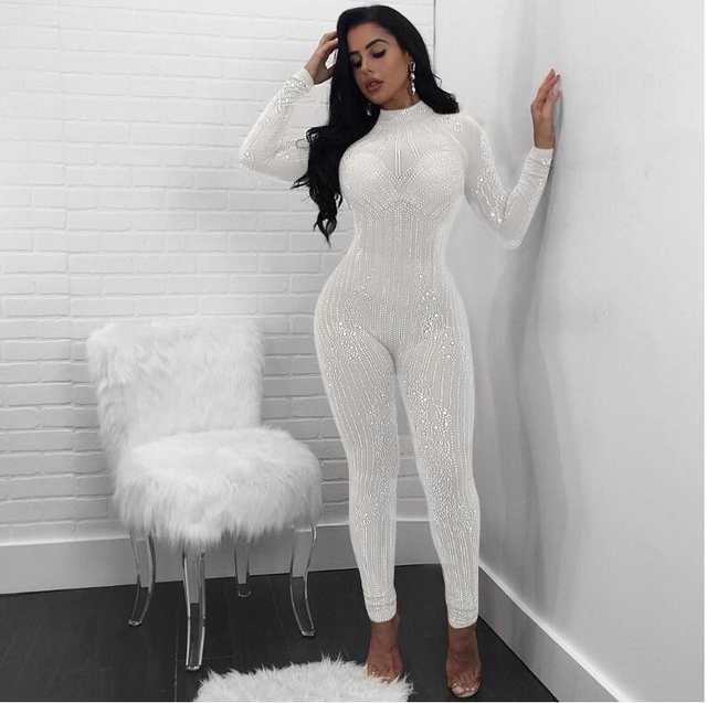 1f7d6fd9e35a placeholder Sexy slim jumpsuit women s fashion bodysuit sequined net yarn  trousers round neck rhinestones perspective nightclub women