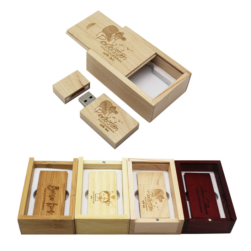 BiNFUL Free Custom Made LOGO  Wooden Usb Flash Drive Pendrive 4gb 8gb 16gb 32gb Memory Stick Photography Gifts