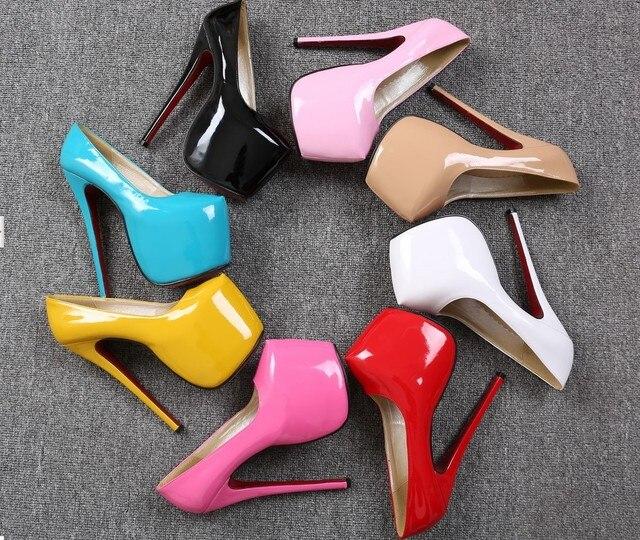 74432d28576 New 2014 Neon Color Patent Leather Platform Women Pumps Red Bottoms High  Heels Bridal Wedding Shoes 18cm Heels Stilletos Ladies
