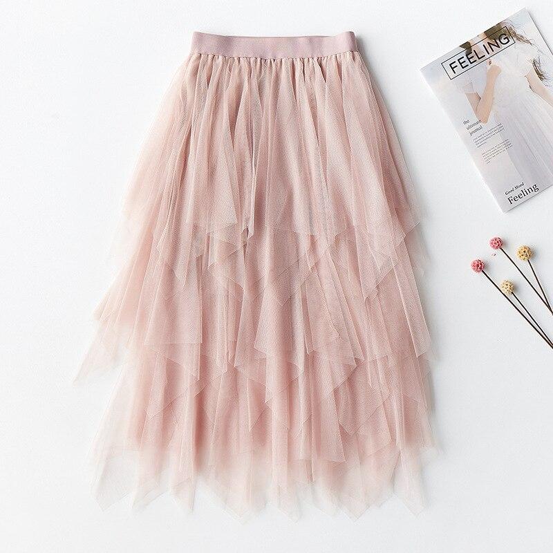 2019 new Fashion Elastic High Waist Tulle Tutu Skirt Women Hem Mesh Tutu Skirt 2018 Spring Party Skirt Ladies Faldas Mujer