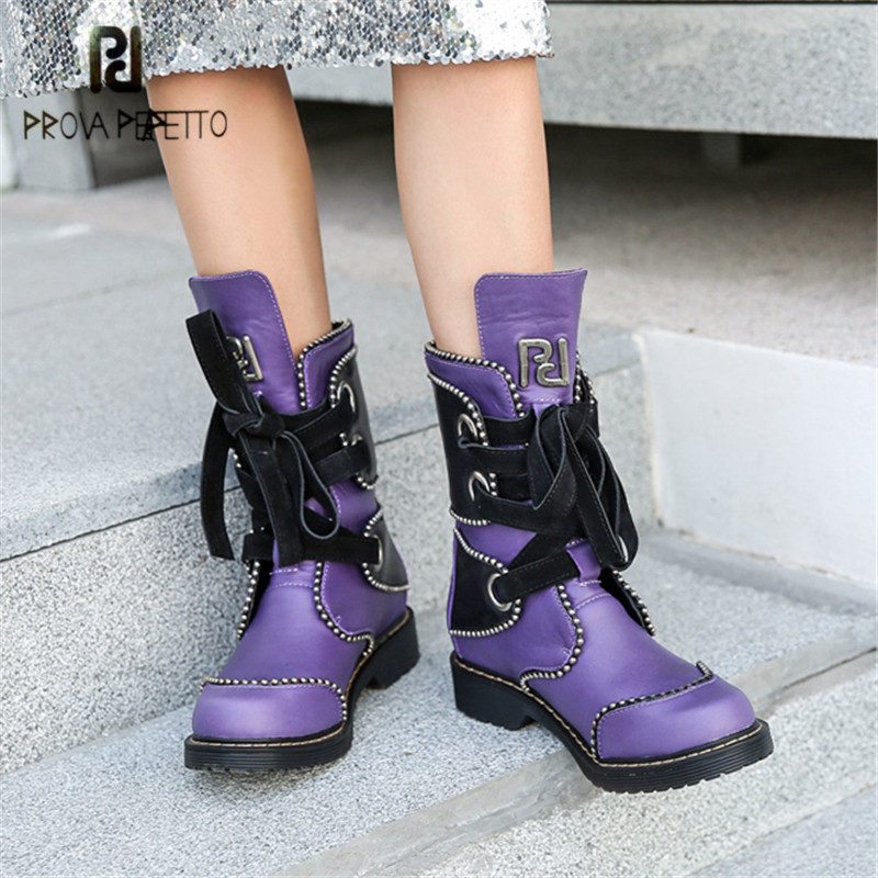 Prova Perfetto Purple Women Gladiator Boots Lace Up Ladies Rivets Chelsea Boots Autumn Flat Boot Platform Rubber Shoes Woman золушка 2018 10 28t17 00