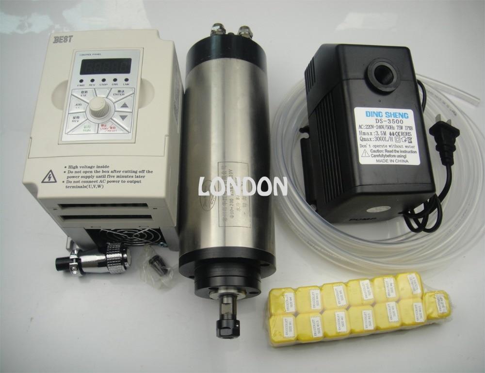 Kit de husillo CNC ER11 800w motor de husillo de refrigeración por agua + 13 piezas ER11 pinzas + inversor de 1.5KW + 1 bomba de agua + 1 tubería de agua
