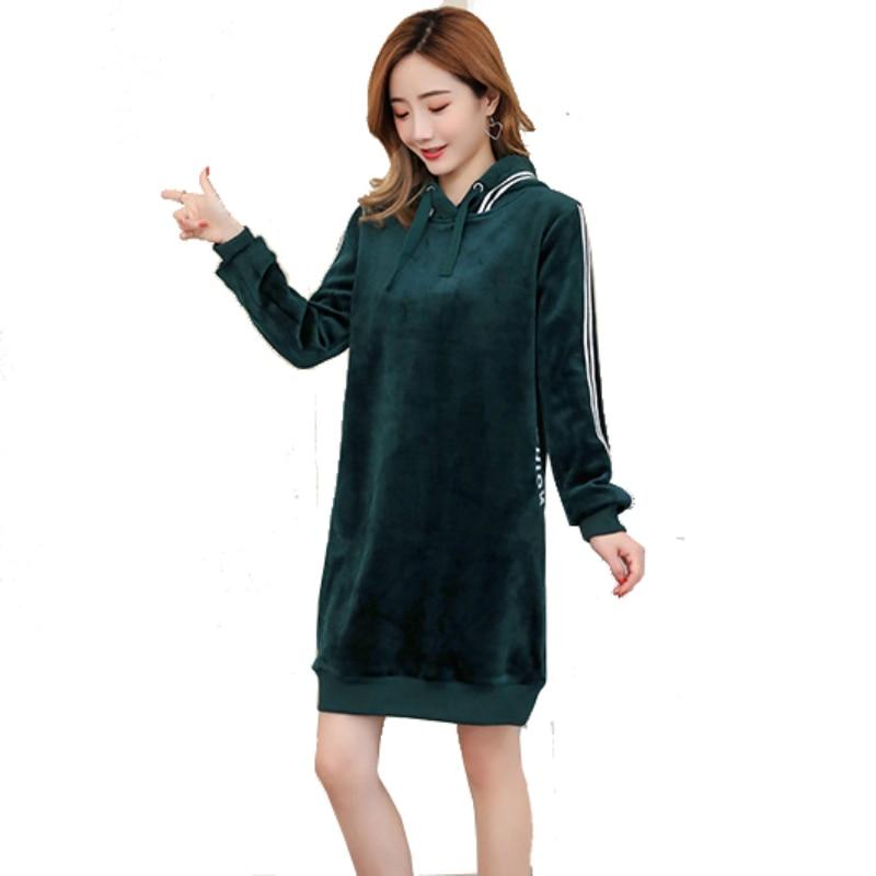 4Color Winter Hoodies Dress Plus Size M-3XL Hoody Sweatshirt Dresses for Pregnant Women Pregnancy Korean Fashion Pleuche Clothes цена 2017