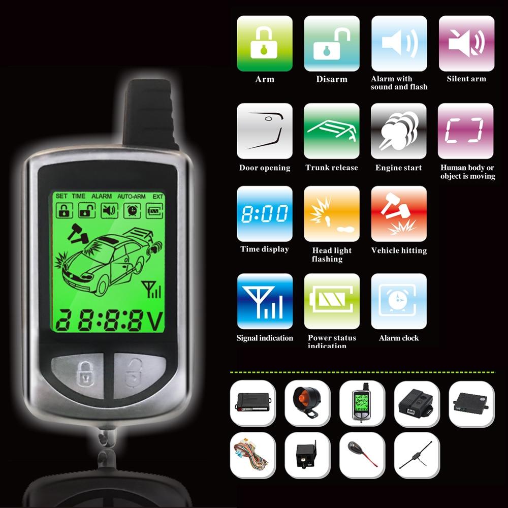 368 Version russe système d'alarme de voiture bidirectionnelle démarrage à distance du moteur avec LCD porte-clés Fob dispositif antivol de sécurité automatique à 2 voies