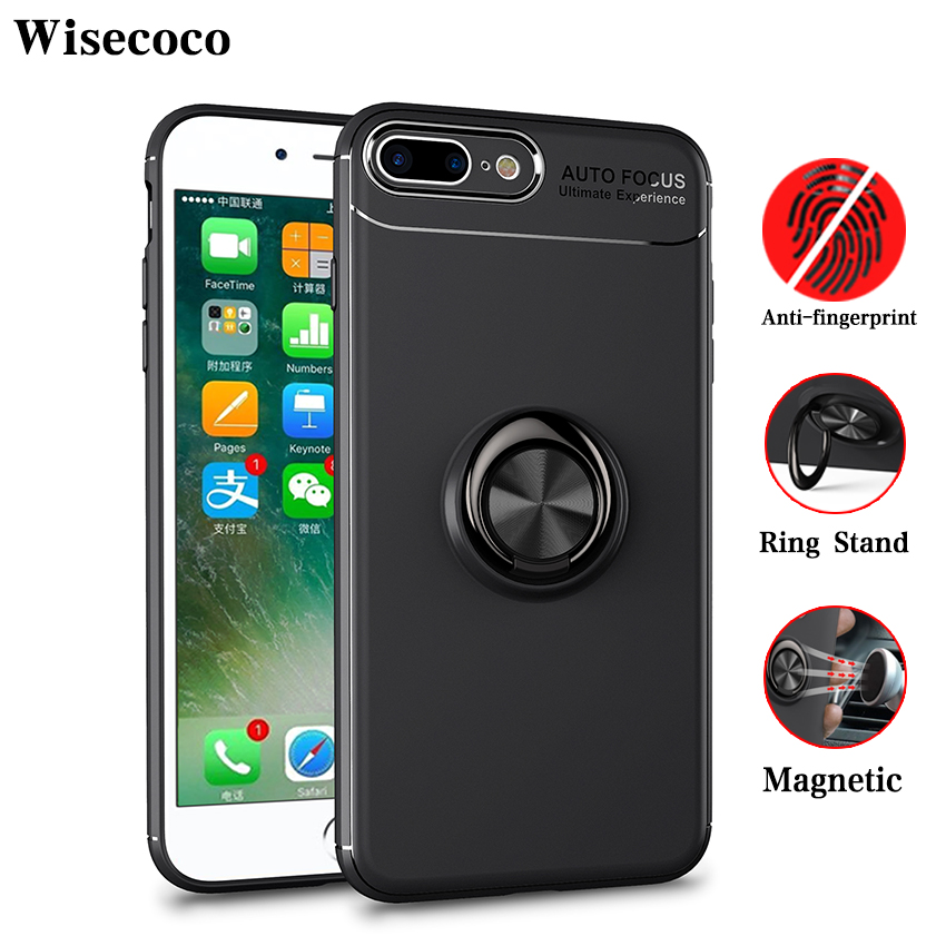 Magnetic Car Holder Case for <font><b>Iphone</b></font> <font><b>8</b></font> 7 Plus Luxury 360 Ring Stand Silicone Tpu Back Cover for <font><b>Iphone</b></font> 7plus 8plus Phone Cases image